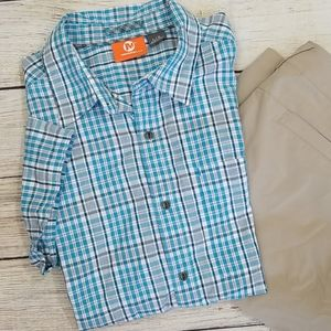 Merrell Aqua Plaid Short Sleeve Button Down